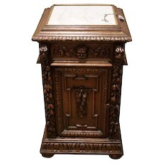 One of a Kind Antique French Renaissance Night Stand, Oak, 19th Century