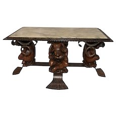 Vintage French Gothic Jester Coffee Table with Marble Top, Whimsical