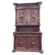 Antique French Gothic Hunt Cabinet, Large Quail Carvings, Oak
