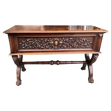 Excellent French Console Table, Parquet Top, 19th Century, Walnut