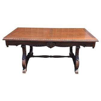 Vintage French Oak Dining Table, Spanish Trestle Style, 1940-50's