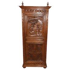 Striking French Breton Cabinet-Narrow Model, 1900's, Oak