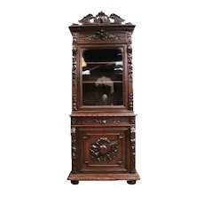 Antique French Hunt Cabinet, Narrow Model, 19th Century-Oak