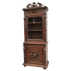 Antique French Hunt Cabinet, Narrow Model, 19th Century