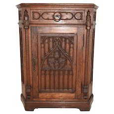 Antique French Oak Gothic Cabinet, Carved on 5 sides, 19th Century
