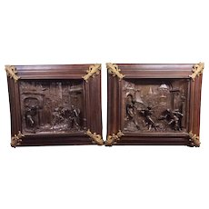 Amazing pair of Large Wood and Metal Panels, Bronze Accents, 19th Century