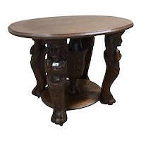 Antique French Renaissance Coffee Table, Centaur Carvings, 19th Century, Walnut