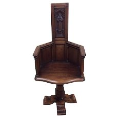 Interesting Antique French Gothic Desk Chair, Late 19th Century