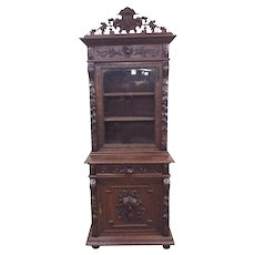 Special French Hunt Cabinet, Narrow Model, Elaborate Carvings, 19th Century