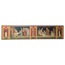 Huge Vibrant Religious Painting on Canvas, Turn of Century