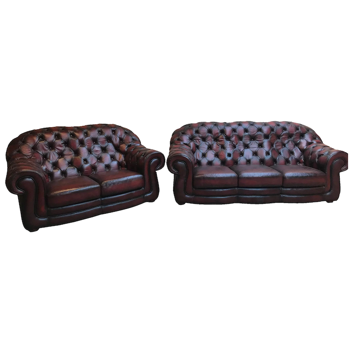 Classic Oxblood Leather Chesterfield Salon Set, Sofa & Loveseat