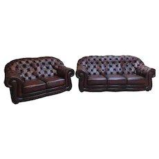 Classic Oxblood Leather Chesterfield Salon Set, Sofa & Loveseat