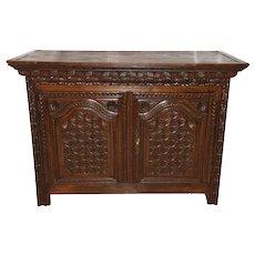 Terrific Antique Primitive French Country Server, Cabinet, 19th Century, Oak