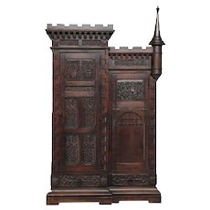 Fascinating French Gothic Cabinet with Castle Motif, Oak, 19th Century