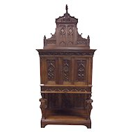 Unique French Gothic Cabinet, Large Carved Statues, Walnut