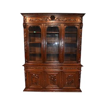 Nice Narrow French Renaissance Bookcase, Oak, 19th Century