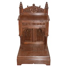 Stunning Antique French Gothic Kneeler, Prayer Chair, Religious