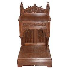 Stunning Antique French Gothic Kneeler, Prayer Chair, Religious