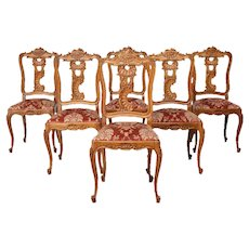 Excellent Set of Six French Louis XV Dining Chairs, 1940's