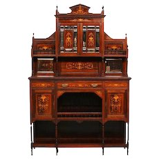 Elegant English Rosewood Cabinet with Inlay, 1920's