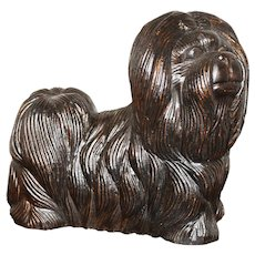 Hand Carved Wooden Dog, 1920's, Walnut, Whimsical