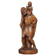 Nice Tall Wooden Statue of St. Christopher carrying Jesus