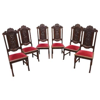 Lovely & Clean Set of Six French Gothic chairs, Spanish Influence, 1930's