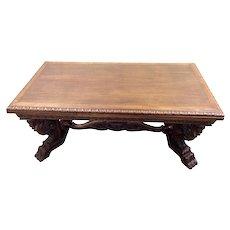 Striking Mythological Gothic Dining Table, 1930's, Oak