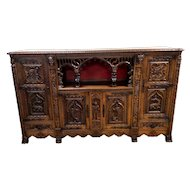 Mythological & Medieval French Gothic Cabinet, Heavily Carved, 1930's
