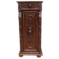 Special Antique French Hunt Cabinet, Ornate Carvings, Tall & Narrow, 19th Century