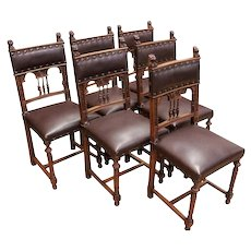 Nice clean set of French Renaissance Henri II Chairs, Walnut