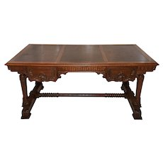 Antique French Notary Partners Desk, Oak, 1900-20's