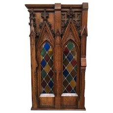Antique French Gothic Leaded Glass Window, Oak Frame