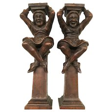 Whimsical French Architectural Elements - 2 carved Jesters