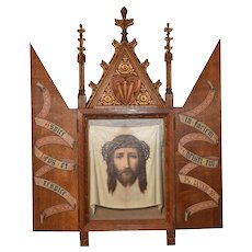 Antique French Religious Tryptych with Christ Artwork, Oak, 19th Century