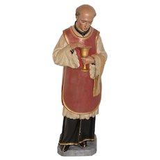 Antique Plaster Religious Statue of Saint Vincent Pallotti