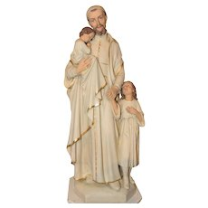 Antique Church Statue of Saint Vincent de Paul in Plaster, 1920's