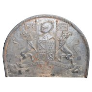 Fantastic Antique Iron Fire-Back with Family Crest Design, Very Large