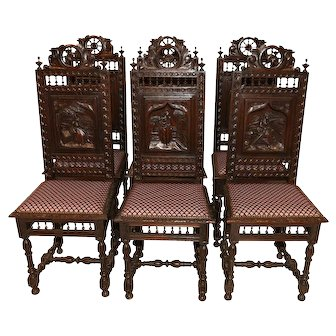 Fantastic Set of Six French Breton Antique Dining Chairs, 1900's, Oak
