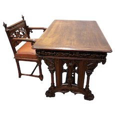 Fantastic Medieval Antique Gothic Desk and Chair, Walnut