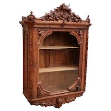 Large Antique Black Forest Wall Cabinet, Rare, Walnut, 19th Century, Rare #8922