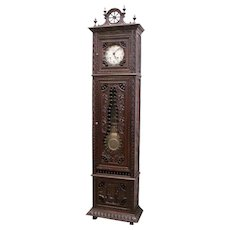 Excellent Antique French Breton Grandfathers Clock, Late 19th Century, Oak