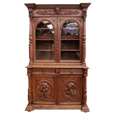 Showy French Hunt Cabinet with Cherubs & Fox, Oak, 19th Century