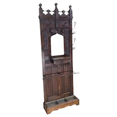 Smaller Size French Gothic Hall Rack, Center Mirror, 19th Century, Walnut