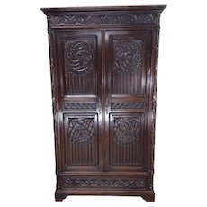 Antique French Gothic Storage Cabinet or Armoire, Oak, 19th Century