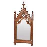 Nice Sized Antique French Gothic Mirror, Oak, 19th Century
