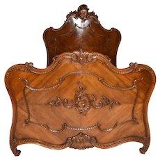 Elegant  French Walnut Bed, 1920's, Value Priced