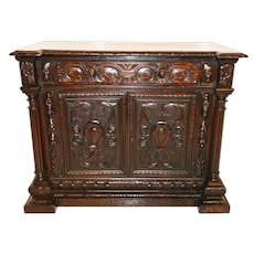 Regal French Renaissance Walnut Cabinet, 1900's