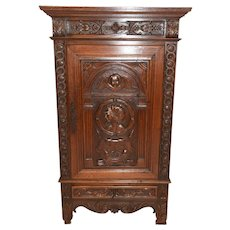 Small French Renaissance Cabinet, Spanish Influence, Oak, 1920's