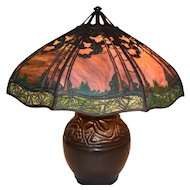 Handel 24 Inch Pine Tree Sunset Glass Overlay Lamp